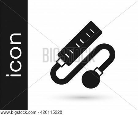 Black Electric Extension Cord Icon Isolated On White Background. Power Plug Socket. Vector