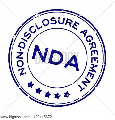 Grunge Blue Nda Non-disclosure Agreement Word Round Rubber Seal Stamp On White Background