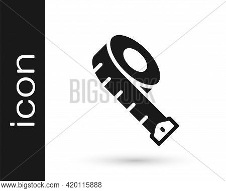 Black Measuring Tape Icon Isolated On White Background. Tape Measure. Vector