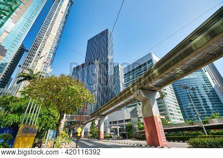 KUALA LUMPUR, MALAYSIA - CIRCA JANUARY, 2020: street level view of Kuala Lumpur in the daytime.
