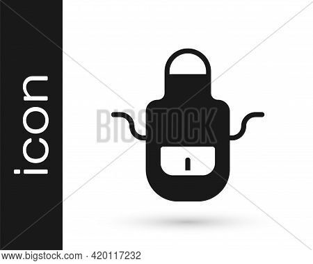 Black Barber Apron Icon Isolated On White Background. Apron Of A Hairdresser With Pockets. Vector