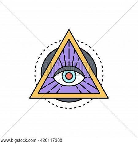 All-seeing Eye Illuminati Line Icon. Isolated Vector Element.