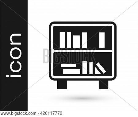 Black Shelf With Books Icon Isolated On White Background. Shelves Sign. Vector