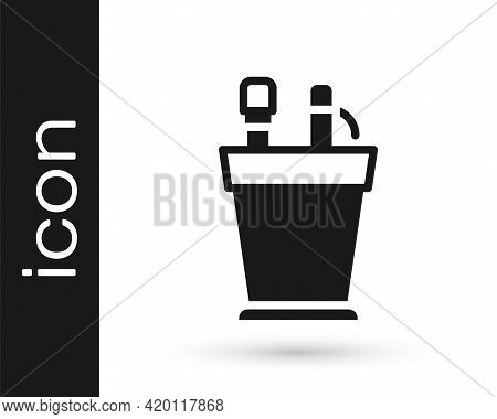 Black Pencil Case Stationery Icon Isolated On White Background. Pencil, Pen, Ruler In A Glass For Of