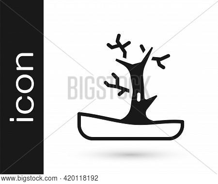 Black Bare Tree Icon Isolated On White Background. Vector