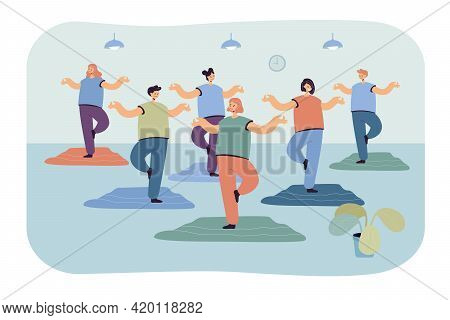 Group Of Cartoon Women Practicing Yoga In Gym. Flat Vector Illustration. Female Characters Exercisin