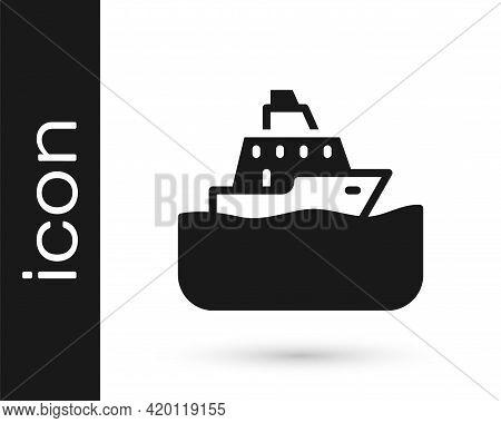 Black Cruise Ship Icon Isolated On White Background. Travel Tourism Nautical Transport. Voyage Passe