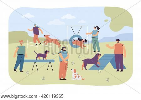 People Playing And Training Their Pets On Special Playground. Flat Vector Illustration. People Train
