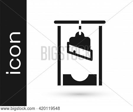 Black Guillotine Medieval Execution Icon Isolated On White Background. Vector