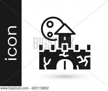 Black Castle Icon Isolated On White Background. Medieval Fortress With A Tower. Protection From Enem