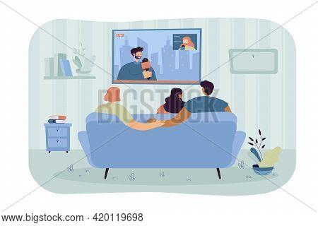 Boyfriend Secretly Cheating On Girlfriend. Couple With Friend Watching News On Sofa, Man Holding Han
