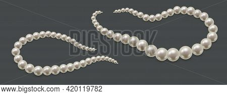 Pearl Necklace Or Bracelet Isolated. Precious White Pearl Beads, Luxurious Jewelry With Natural Gems