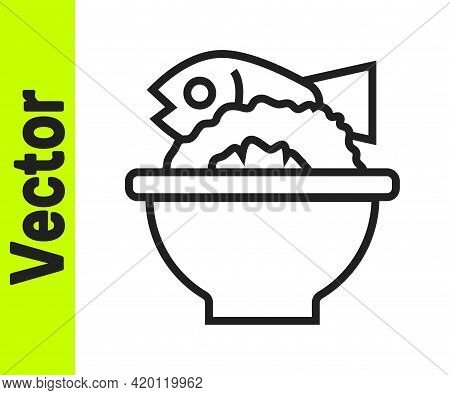 Black Line Served Fish On A Bowl Icon Isolated On White Background. Vector