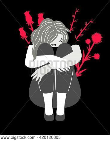 Girl In Disturbance. Cartoon Unhappy Woman With Anxious Thinking, Concept Of Sorrow And Melancholic