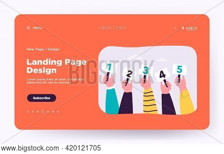 Competition Judges Vector Illustration. Line Of Hands Holding And Showing Scorecards With Scores Or