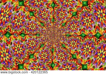 Abstract Background,Horizontal mandala banner,Decorative flower mandala background with place for te