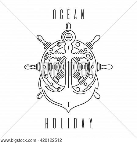 Anchor On The Background Of The Ships Steering Wheel. Ocean Holidays. Vector Illustration