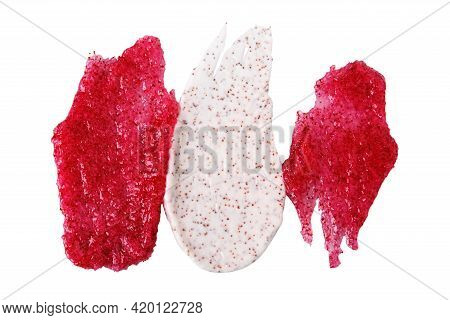 Textured Smears Of Cosmetic Products. Exfoliating Scrub With Coffee Particles And Berry Scrub With S