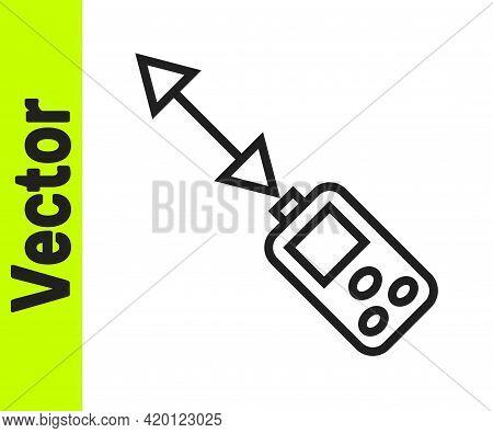 Black Line Laser Distance Measurer Icon Isolated On White Background. Laser Distance Meter Measureme