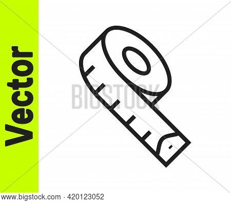 Black Line Measuring Tape Icon Isolated On White Background. Tape Measure. Vector