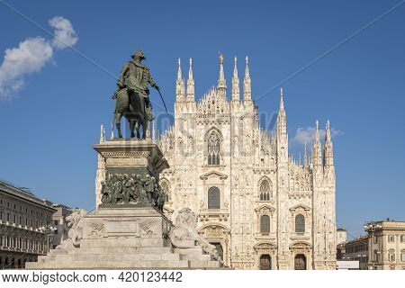 Milan Cathedral (duomo Di Milano) And Vittorio Emanuele Statue At Sunny Day,milan,italy.