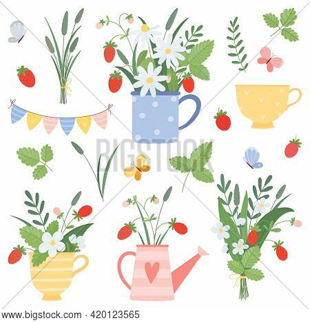 Summer Set With Cups, Watering Can Bouquets, Chamomile, Strawberry, Butterflies In Flat Cartoon Styl