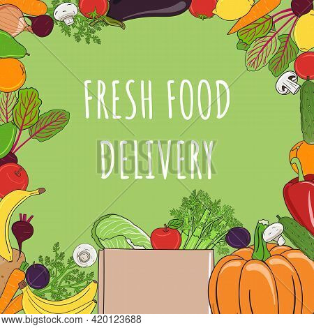 Vegetables And Fruits Square Frame. Organic Market Banner And Healthy Food Template. Concept Of Fres