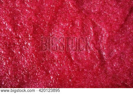 Texture Of Organic Berry Scrub With Sugar And Seeds. Close-up