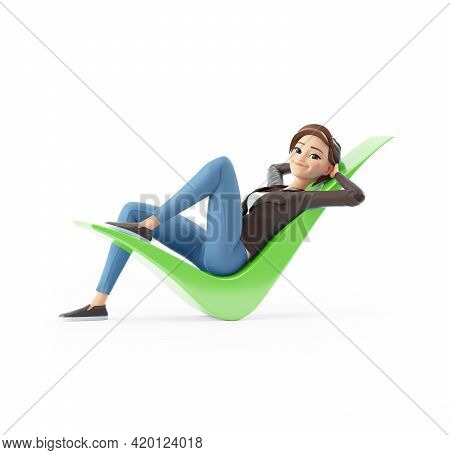 3d Cartoon Woman Lying Down On Check Mark, Illustration Isolated On White Background