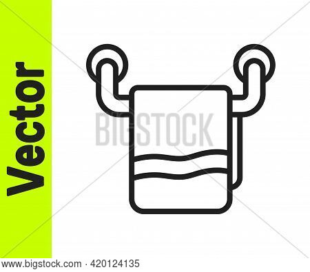 Black Line Towel On A Hanger Icon Isolated On White Background. Bathroom Towel Icon. Vector