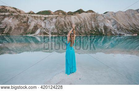 Girl In A Blue Dress At Volkovysk Chalk Pits Or Belarusian Maldives. Famous Chalk Quarries Near Vauk