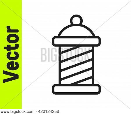 Black Line Classic Barber Shop Pole Icon Isolated On White Background. Barbershop Pole Symbol. Vecto