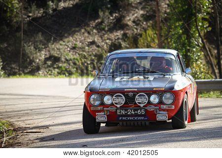 Leiria, Portugal - February 2: Adalberto Melim Drives A Alfa Romeo 2000 Gt During 2013 Amateur Winte