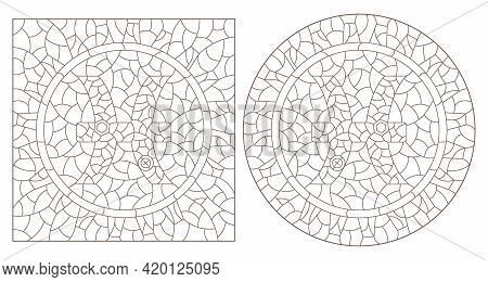 Set Of Contour Illustrations In The Style Of Stained Glass With The Signs Of The Zodiac Pisces, Dark