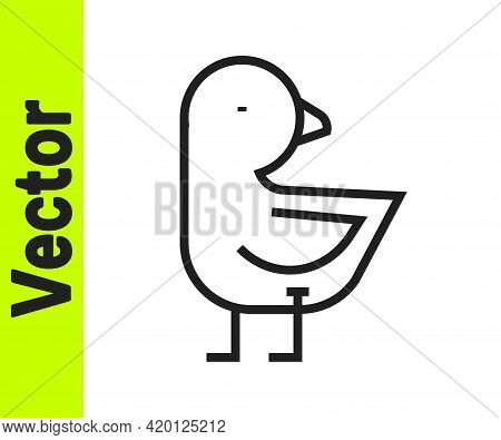 Black Line Little Chick Icon Isolated On White Background. Vector