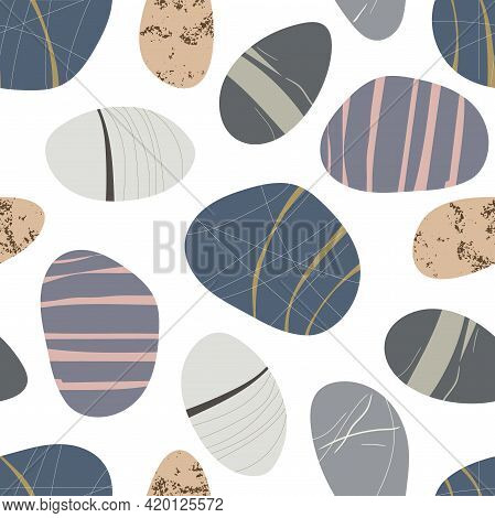 Beach Pebbles Seamless Pattern. Hand Drawn Various Shapes. Modern Illustration In Vector. Different