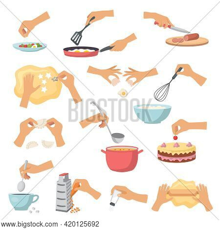 Hands Preparing Food. Kitchen Cooking Utensils Preparing Products Processes Soup Cakes Fish And Sala
