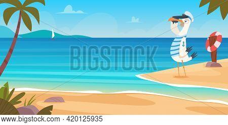 Seagull On Beach. Bird Sailor On Seaside Standing Flying Near Sand Coast Ocean Landscape Blue Water