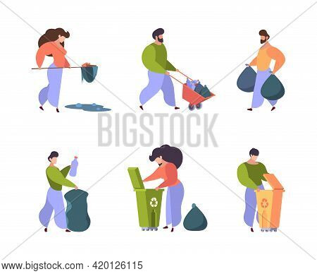 People Save Nature. Characters Recycling Garbage Clean Environment Volunteers Garish Vector Persons