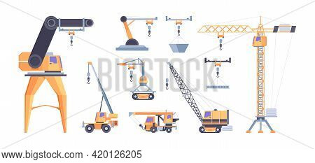 Cranes For Builders. Construction Vehicles Industrial Loaders Hoisting Machines Ropes With Hook Tran