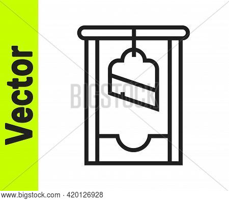 Black Line Guillotine Medieval Execution Icon Isolated On White Background. Vector