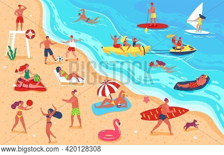 People At Beach. Man And Woman Having Fun And Relaxing On Beach. Friends Playing Sports, Sunbathing,