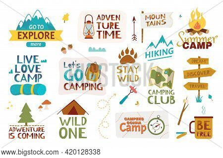Camping Lettering. Summer Camp, Traveling, Mountain Hiking. Adventure Quotes And Phrases With Hand D