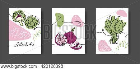 Vegetables Wall Line Art Decor. Green Salad Leaf, Spinach, Onion, Artichoke. Set Of Vector Illustrat