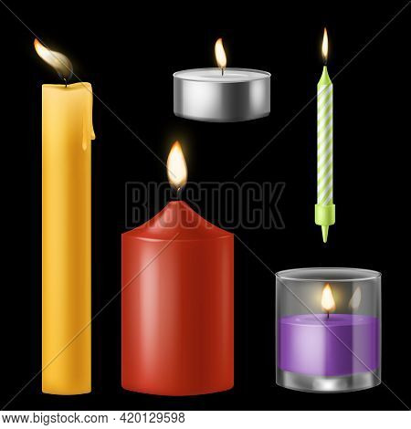 Candle Realistic. Church And Birthday, Aroma And Red Romantic Burning Wax Candles Collection, 3d Par