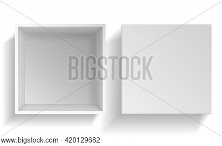 Mockup Box. Realistic White Paper Packaging Top View, Empty Open Cardboard Package And Cap. 3d Carto