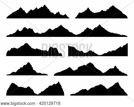Mountains Silhouettes Black. Skyline Ranges, High Mountain Hike Landscape, Alpine Peaks. Extreme Hik