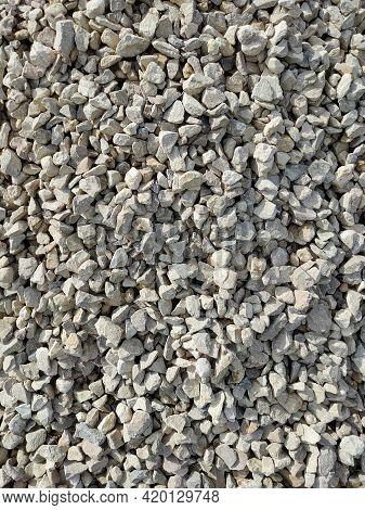 Gravel Texture Pattern Background. Construction Material Backdrop. Stones Rubble Granite.
