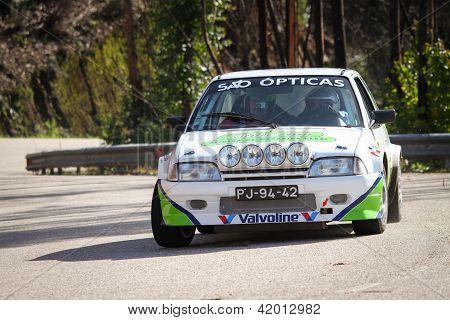 Leiria, Portugal - February 2: Ricardo Soares Drives A Citroen Ax During 2013 Amateur Winter Rally,