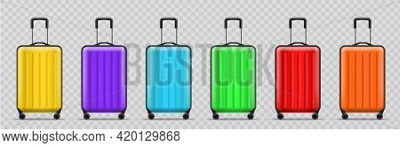 Different Colors Luggage. Realistic Modern Travel Plastic Bags Standing In Row, Shockproof Bright Fl